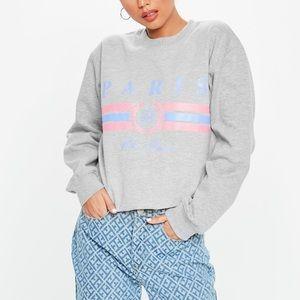 Missguided Gray paris graphic Sweatshirt